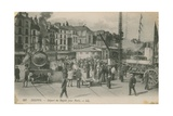 Departure of the Paris Express from Dieppe. Postcard Sent in 1913 Giclee Print by  French Photographer