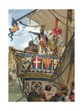 Departure of Jaime I of Aragon for the Conquering of Mallorca Giclee Print by  Spanish School