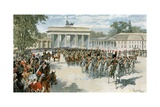 Entrance of the French Army into Berlin Giclee Print by Felicien Baron De Myrbach-rheinfeld