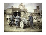 Three French Soldiers Parked in Front of a Heavily Damaged Building with a Small Truck, Aisne,… Giclee Print by Fernand Cuville
