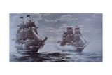 USS Constitution and HMS Java Reproduction procédé giclée