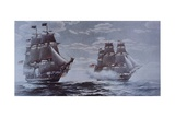 USS Constitution and HMS Java Giclee Print