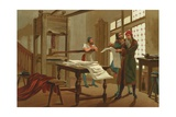 Gutenberg Prints the First Page of the Bible Giclee Print by Josep or Jose Planella Coromina