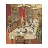 Dinner Party Giclee Print by  English School