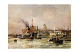 Shipping on the Thames Below St. Paul's, 1930 Giclee Print by Charles Edward Dixon