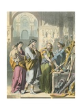 Prudence, Piety and Charity Show the Armoury to Christain Giclee Print by H. Castelli