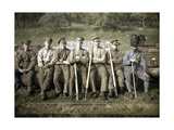 Canadian Soldiers with a Cant Hook are Sitting on the Trunk of a Tree for a Giclee Print by Fernand Cuville
