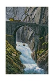 Carriage Crossing the Teufelsbrucke over the Schollenen Gorge in Switzerland. Postcard Sent in 1913 Giclee Print by  Swiss photographer