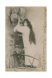 Crois Espere Aime (Believe Hope Love). Postcard Sent in 1913. Handwrighting on Right Edge Is… Impressão giclée por  French Photographer