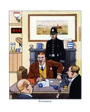 Coroner Conducting an Inquest into the Causes and Circumstances of a Death, 1936 Giclee Print by René Bull
