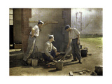 Three French Soldiers Cooking Lunch on an Open Fire, Soissons, Aisne, France, 1917 Giclee Print by Fernand Cuville