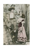 Postcard Showing Two Girls Dressed in Costume with Cherries, Sent in 1913 Impressão giclée por  French Photographer