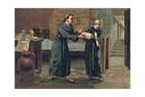 Roger Bacon Sending His Magnum Opus to the Pope Giclee Print by Josep or Jose Planella Coromina