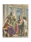 Prudence, Piety and Charity Converse with Christian Giclee Print by H. Castelli