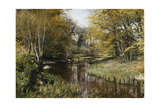 A Wooded River Landscape, 1909 Giclee Print by Peder Mork Monsted