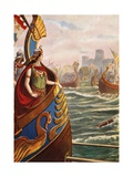 Cleopatra at the Battle of Actium Giclee Print by Tancredi Scarpelli