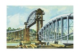 The First Truss Is Raised on the Royal Albert Bridge at Saltash Giclee Print by Harry Green