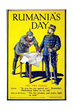 'Rumania's Day', Poster Showing the Kaiser and the King of Romania Arguing While Examining a Map,… Giclee Print
