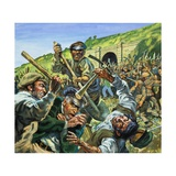 Navvies Fighting Giclee Print by Harry Green