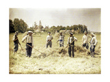 Eight Members of the 143rd Infantry Division of the French Army are Making Hay, Soissons, Aisne,… Giclee Print by Fernand Cuville