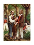 In the Pine Woods of Ravenna, Garibaldi Places His Dying Wife Anita under the Trees Giclee Print by Tancredi Scarpelli