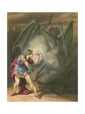 Apollyon in a Rage Falls Upon Christian Giclee Print by H. Castelli