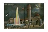 Duren, Leuchtfontaine, Abendstimmung Am Colnplatz. Postcard Sent on 20 March 1913 Giclee Print by  German photographer