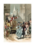 Charlatans Outside the Louvre During the French Revolution Giclee Print by  Spanish School
