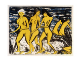 Five Yellow Nudes on the Water; Funf Gelbe Akte Am Wasser (Karsch 156A), 1921 Giclee Print by Otto Muller or Mueller