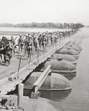 Machine Gun Section and Infantry Crossing a Flooded River by Pontoon Bridge Photographic Print by  English Photographer