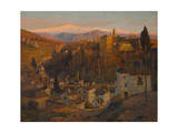 Afterglow - the Alhambra and Sierra Nevada, Granada, c.1905 Giclée-Druck von Albert Moulton Foweraker