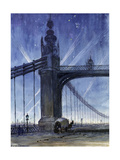 Wartime Spot Lights from Chelsea Bridge, c.1917 Giclee Print by Alice Maud Fanner