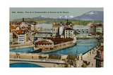 Geneva - Coulouvreniere Bridge and St. Gervais District. Postcard Sent in 1913 Giclee Print by  Swiss photographer