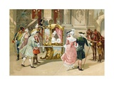 Leaving the Opera in Pre-Revolutionary France Giclee Print by  Spanish School