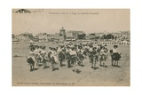 Donkey Rides on the Beach at Les Sables-d'Olonne in Western France. Postcard Sent in 1913 Giclee Print by  French Photographer
