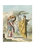 Evangelist Directing Christian to Flee from the Wrath to Come Giclee Print by H. Castelli