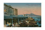 Naples - View of the Grand Hotel Santa Lucia and Mount Vesuvius. Postcard Sent in 1913 Giclee Print by  Italian Photographer