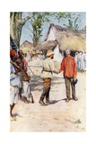Livingstone and Stanley at Ujiji Giclee Print by Walter Stanley Paget
