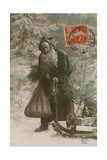 Postcard of Father Christmas, Sent on 24th December 1913 Giclee Print by  French Photographer