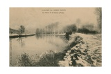 Longpre-Les-Corps-Saints - the Banks of the Somme in Winter. Postcard Sent in 1913 Giclee Print by French Photographer