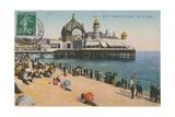 Beach and Palais de La Jetee, Nice. Postcard Sent in 1913 Impression giclée par  French Photographer
