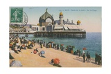Beach and Palais de La Jetee, Nice. Postcard Sent in 1913 Giclee Print by  French Photographer
