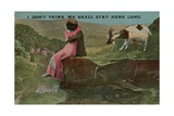 Postcard of Lovers on a Cliff, Sent in 1913 Giclee Print by  English Photographer