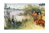 Livingstone and Oswell Reach the Zambezi at Sesheke Giclee Print by Walter Stanley Paget
