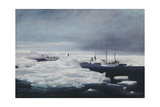 The James Caird, Dudley Docker and Stancomb Wills Moored to the Ice-Floe in Giclee Print by George Marston
