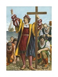 Christopher Columbus Arriving in the New World Giclee Print by Tancredi Scarpelli