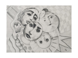Study of Faces in Pencil, 1995 Giclee Print by Carolyn Hubbard-Ford