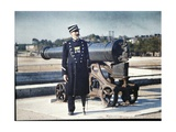 A Soldier in Uniform with Three Medals Is Standing Next to a Cannon in Paris, 1918 Giclee Print by Jules Gervais-Courtellemont