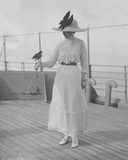 Mrs. Fitzroy with a Bird Given to Her by a Maharaja, on Board the P&O SS Malwa, February 1912 Photographic Print by  English Photographer