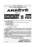 Decree Concerning the Census of Jews in Marseille, 22 July, 1941 Giclee Print